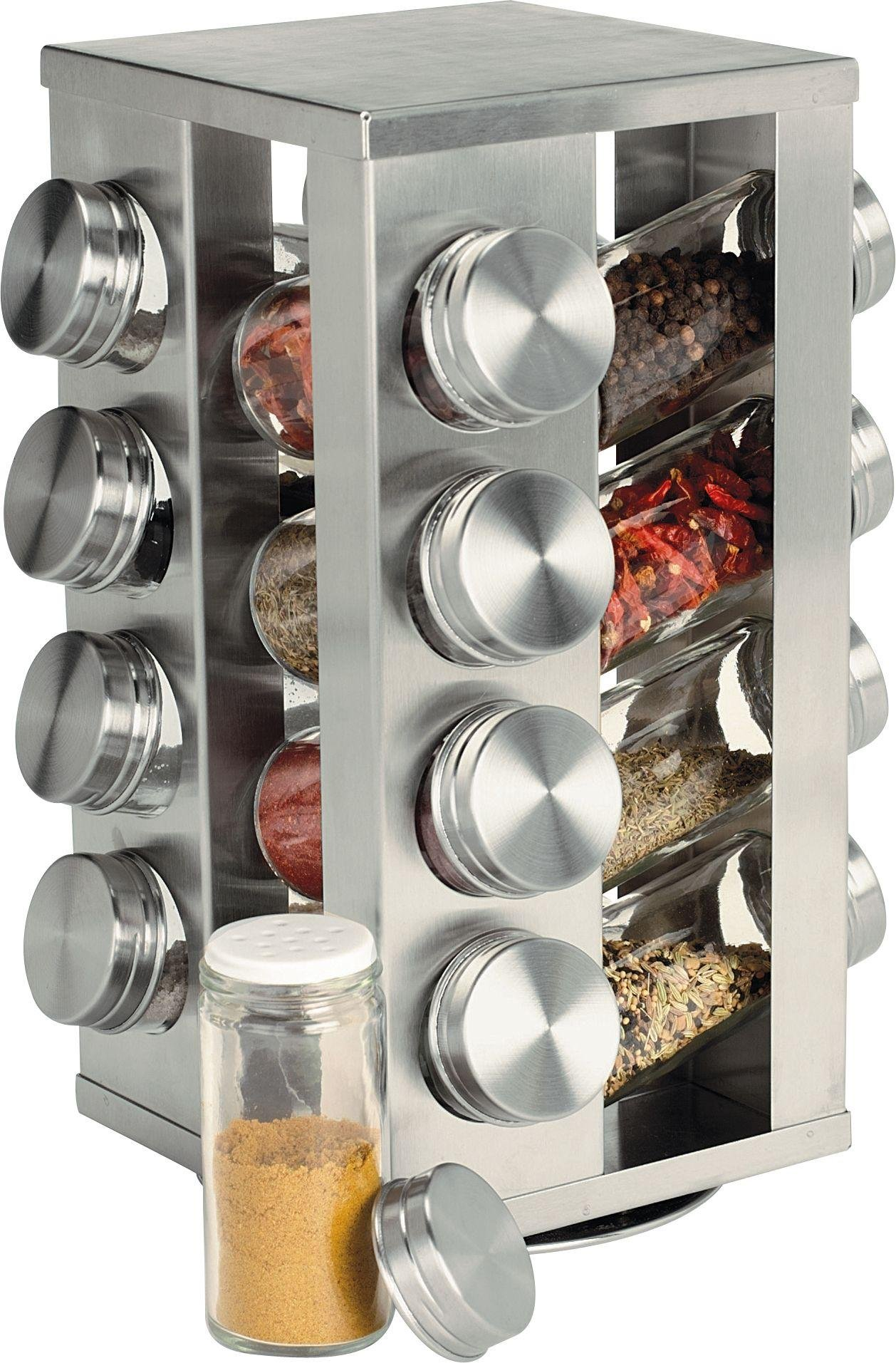 Image of HOME - 16 Jar Stainless Steel Revolving Spice Rack