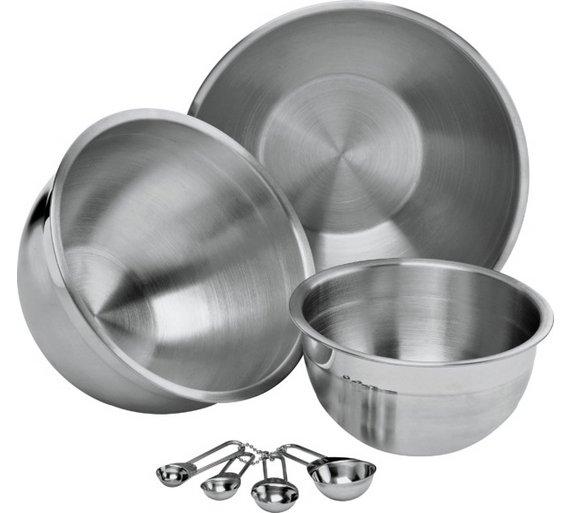 Buy Argos Home 3 Piece Mixing Bowls & Measuring Spoons Set   Baking ...