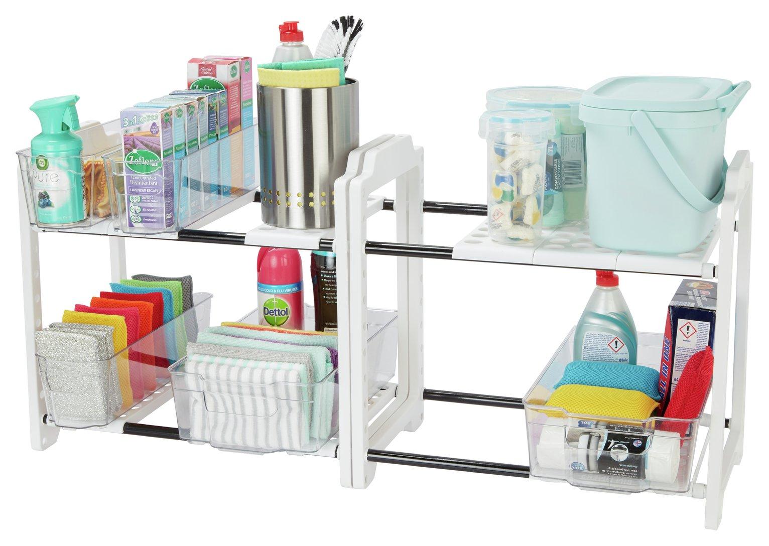 Organiser Meuble Sous Evier détails sur meuble de rangement encastrable sous évier blanc facile étagère  étagères organisateur espace étagères addis- afficher le titre d'origine