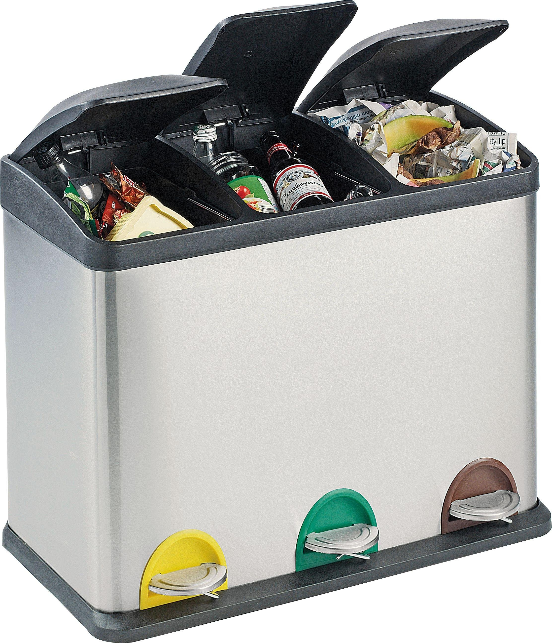 buy home 45 litre recycling pedal bin with 3 compartments at argos