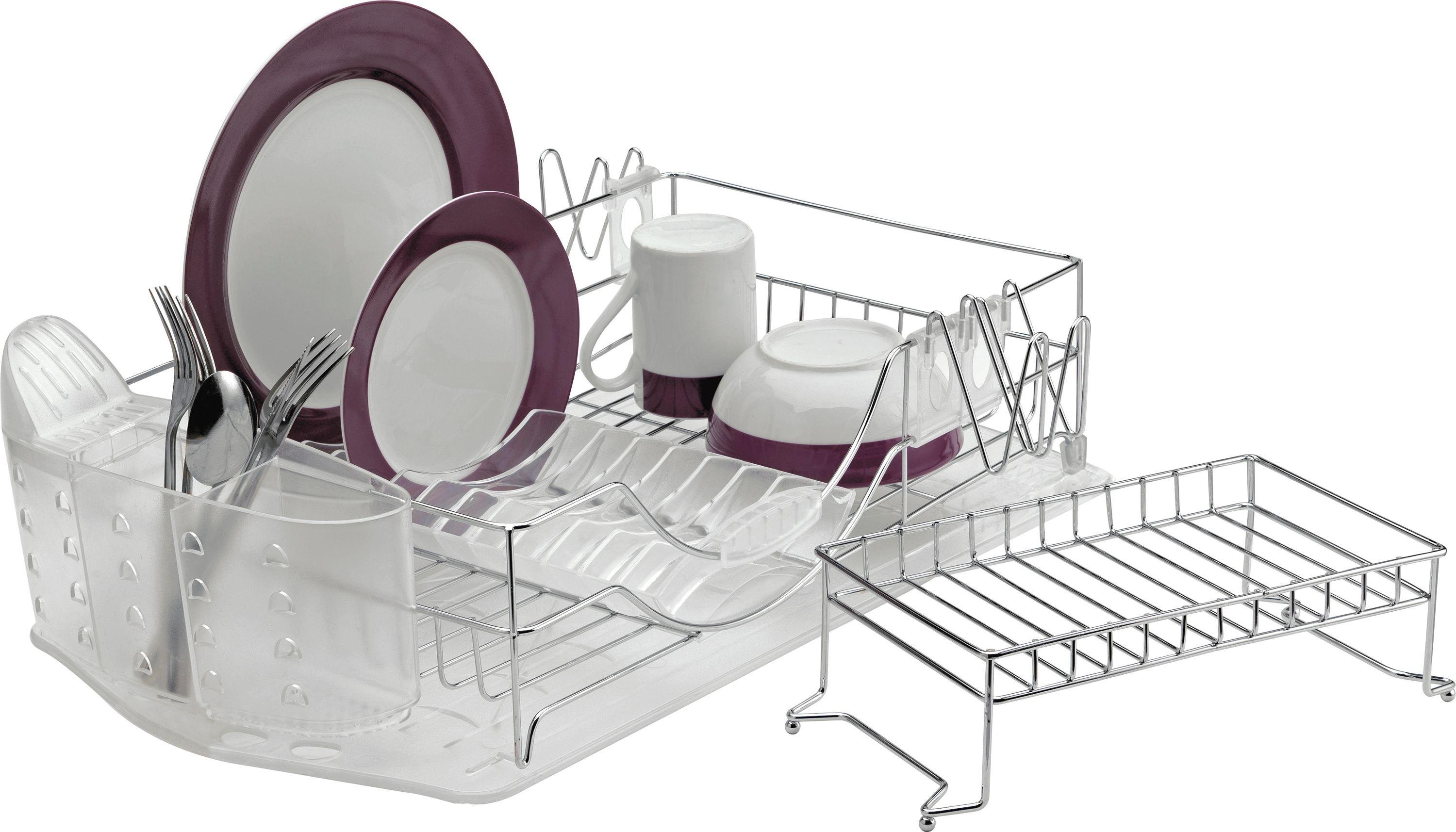 sale on home deluxe 2 tier dish rack chrome home by. Black Bedroom Furniture Sets. Home Design Ideas