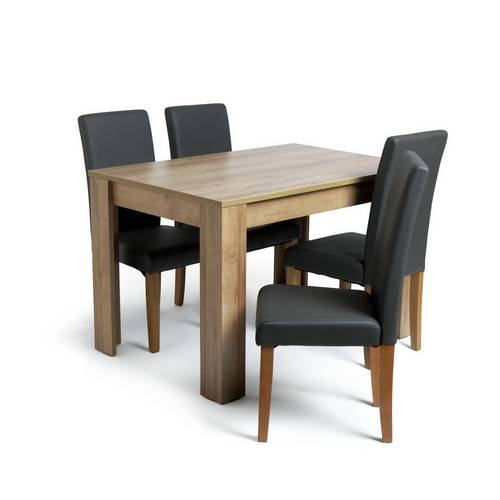 Buy Argos Home Miami Oak Effect Table & 4 Charcoal Chairs