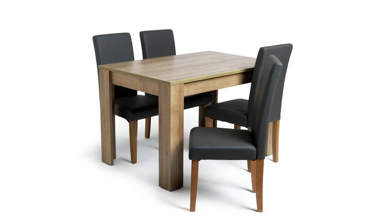 Habitat Miami Oak Effect Table & 4 Charcoal Chairs