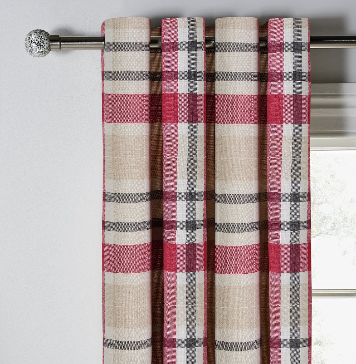 Argos Home Inverness Check Eyelet Curtains - 117x137cm - Red
