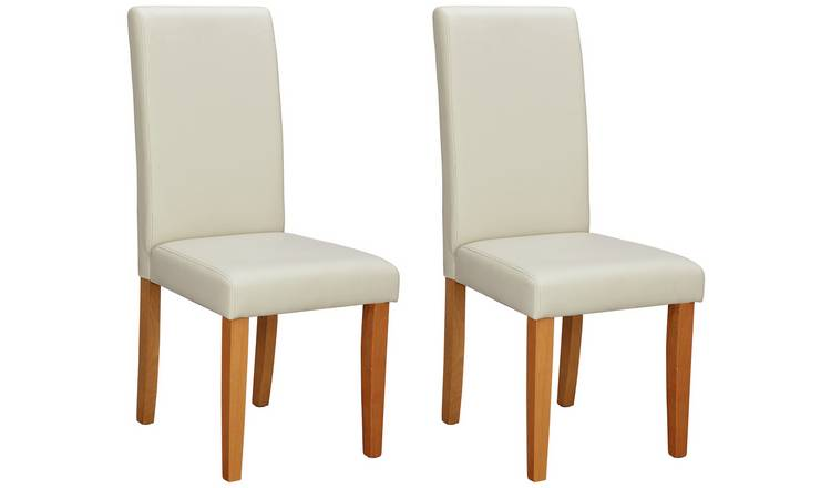 Habitat Pair of Midback Dining Chairs - Cream