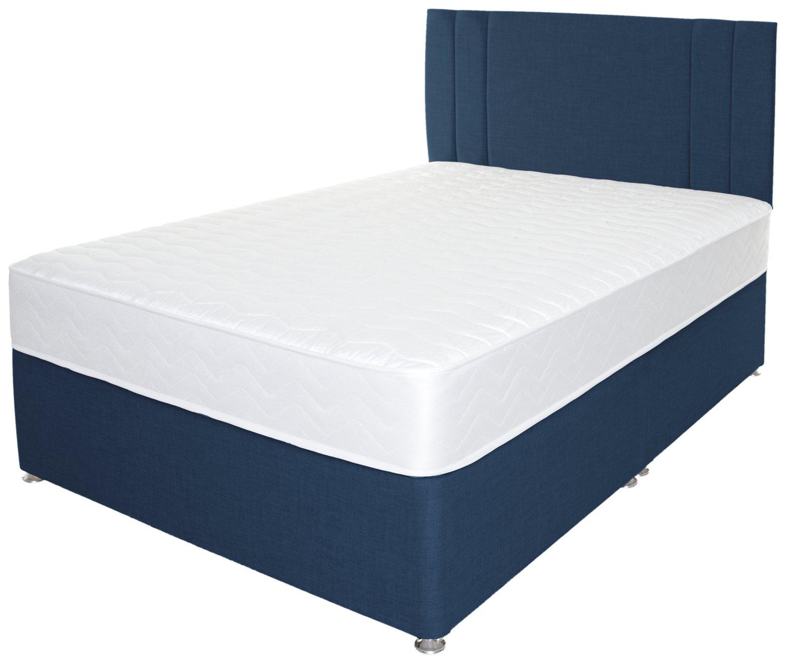 Airpsrung Henlow 1200 Memory Divan Bed & Headboard - Blue at Argos