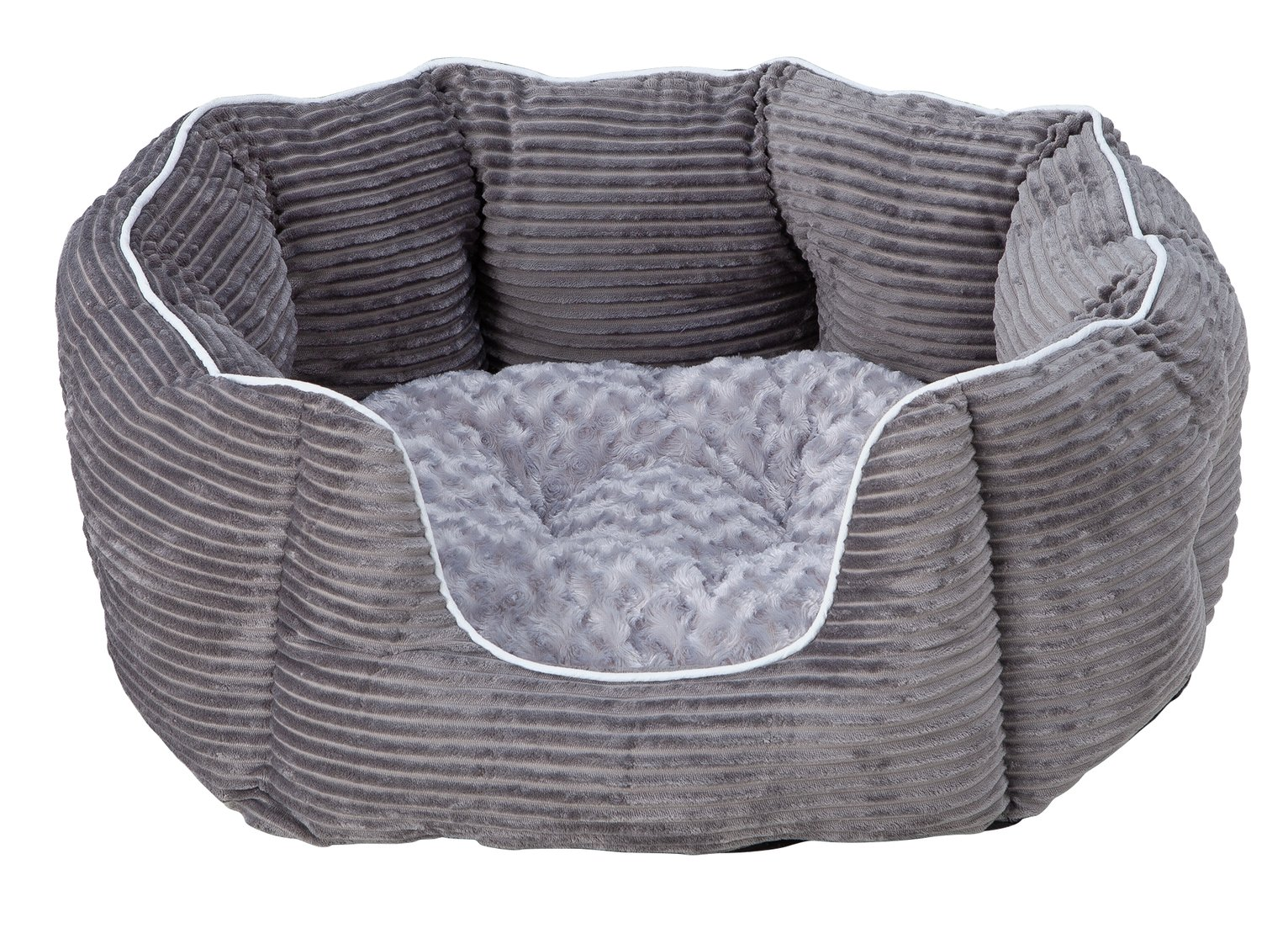 Grey Cord Oval Pet Bed - Medium