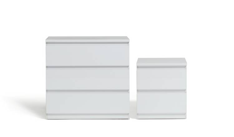 Habitat Jenson Gloss Bedside & 3 Drawer Chest Set - White