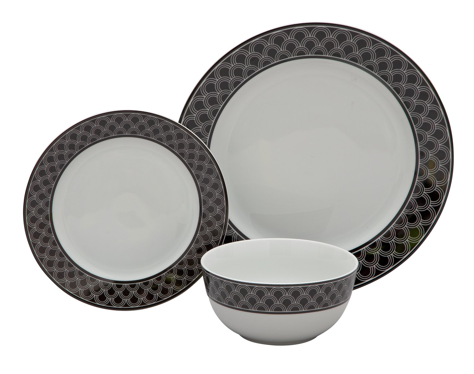 Argos Home Scallop Ceramic 12 Piece Dinner Set - Black