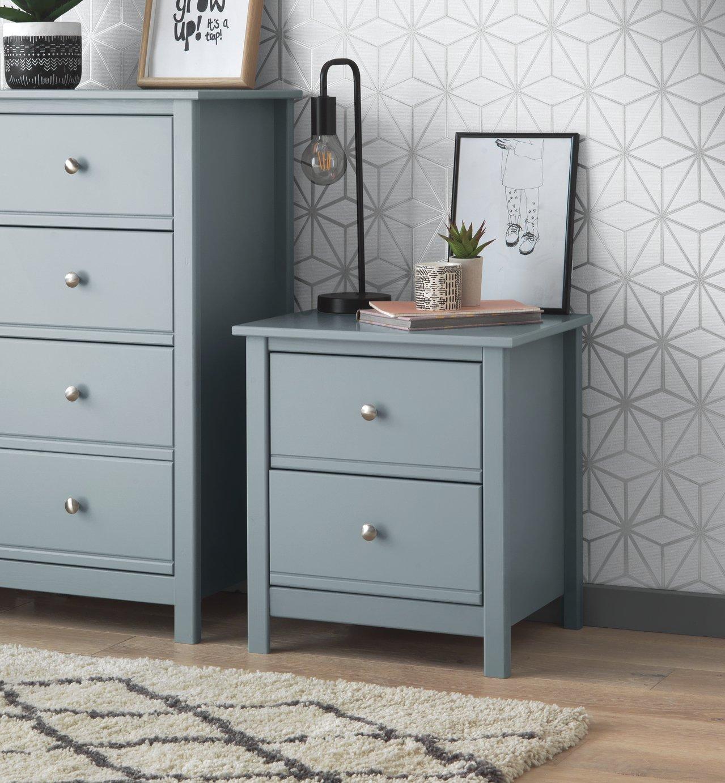 Argos Home Brooklyn 2 Drawer Bedside Table - Grey