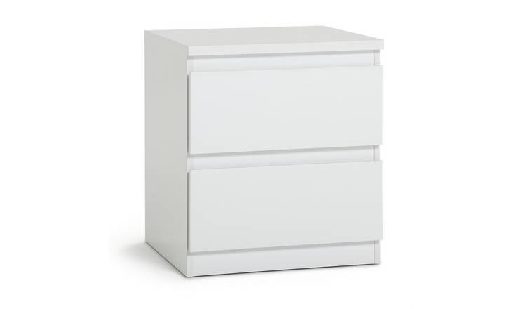 Argos Home Jenson Gloss 2 Drawer Bedside Table - White