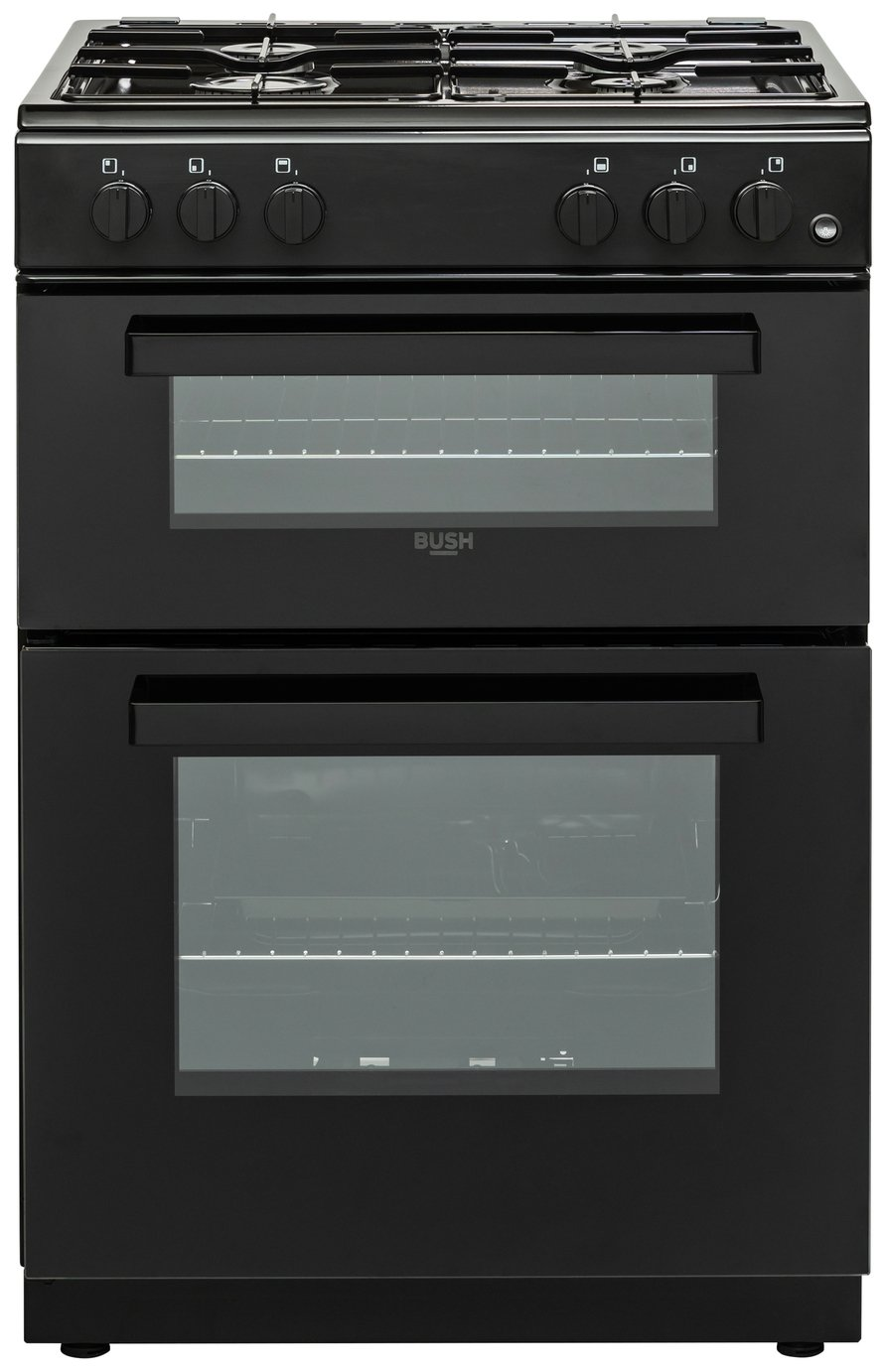 Bush BGC60DB 60cm Double Oven Gas Cooker - Black Best Price, Cheapest Prices
