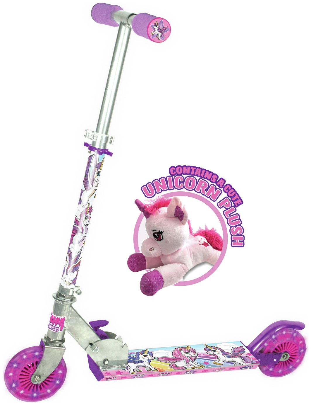 Ozbozz Unicorn Scooter With Soft Toy