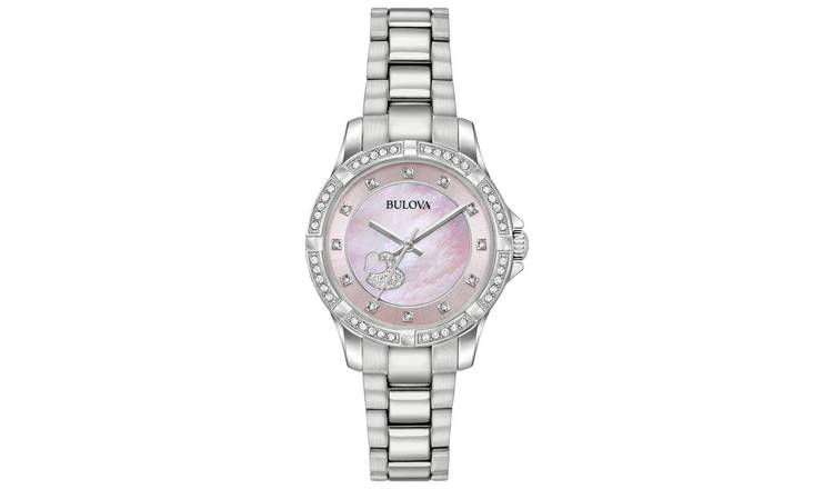 Bulova Ladies' Pink Mother of Pearl Crystal Heart Watch