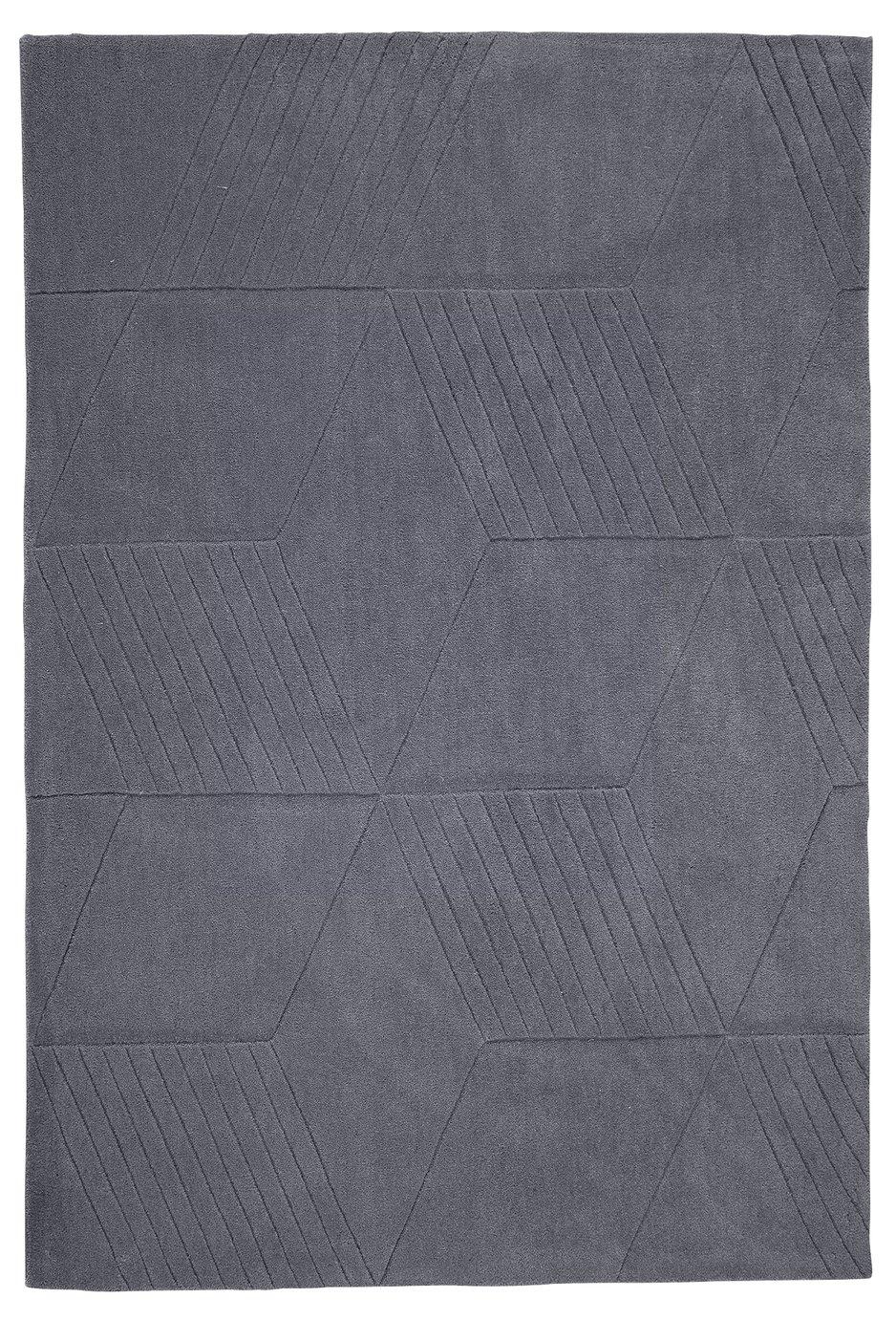 Argos Home Lawson Geometric Rug - 160x120cm - Grey