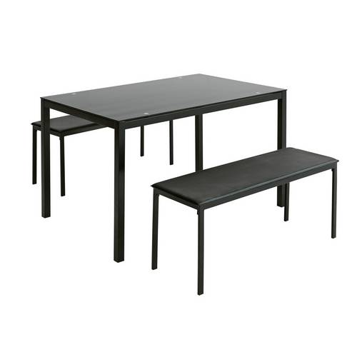 Buy Argos Home Lido Glass Dining Table & 2 Black Benches