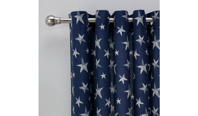 Argos Home Star Fully Lined Eyelet Curtains - Navy