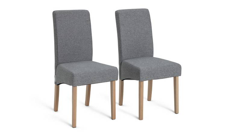 Habitat Pair of Tweed Skirted Dining Chairs - Grey