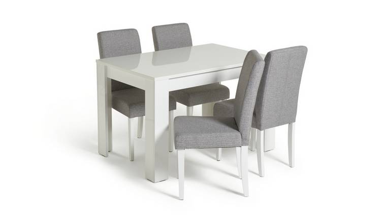 Habitat Miami White Gloss Table & 4 Tweed Chairs - Grey