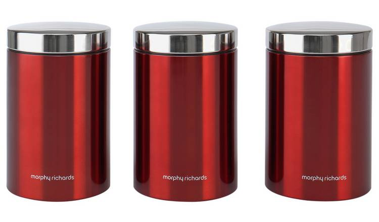 Morphy Richards Accents Set of 3 Storage Jars - Red