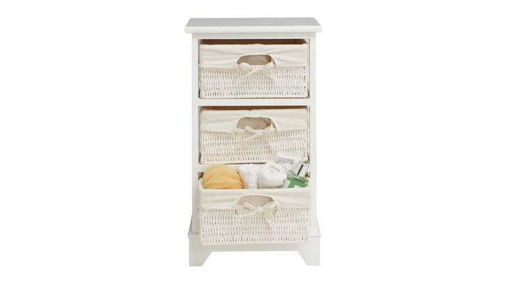Argos Home Isla Storage Unit with 3 Baskets - White