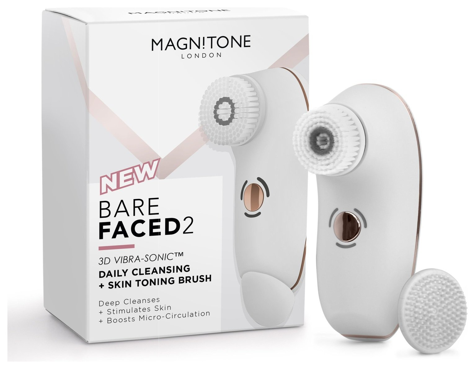 Magnitone 3D Vibra-Sonic Cleansing Brush - White