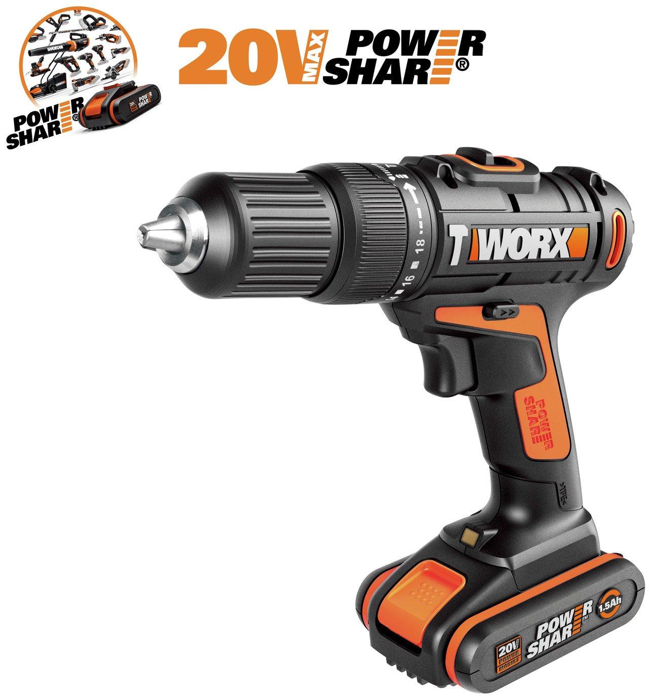 WORX WX386.4 18V 20V MAX Cordless Hammer Drill  50pc Set