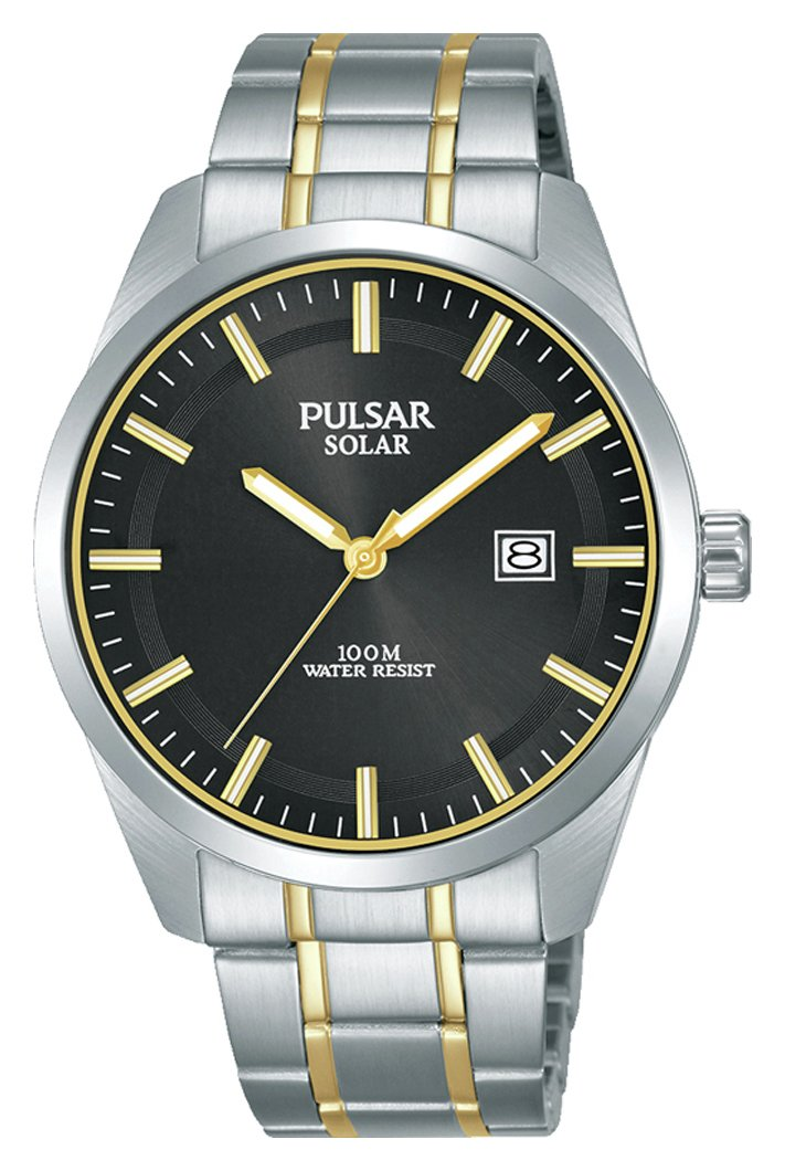 Pulsar Solar Men's Silver Stainless Steel Bracelet Watch