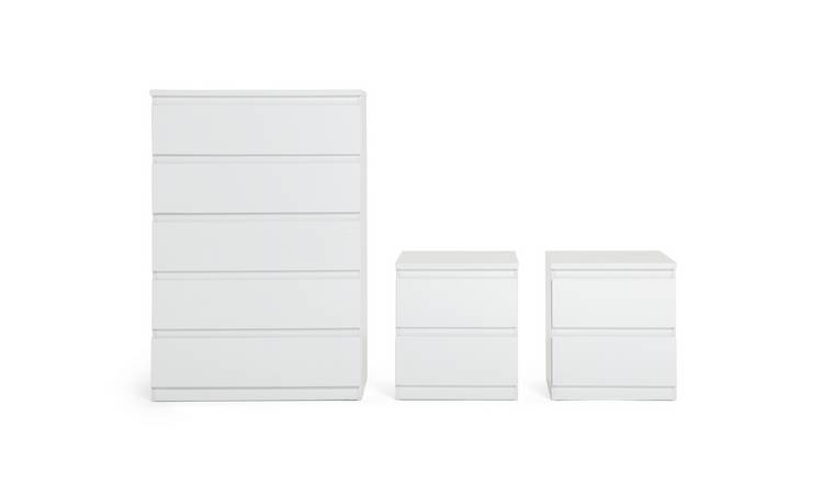 Habitat Jenson Gloss 2 Bedside & 5 Drawer Chest Set-White