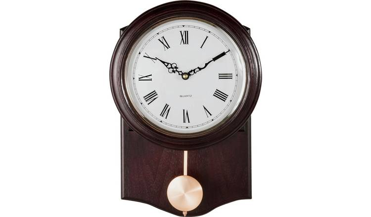 Argos Home Pendulum Wall Clock - Dark Oak Effect
