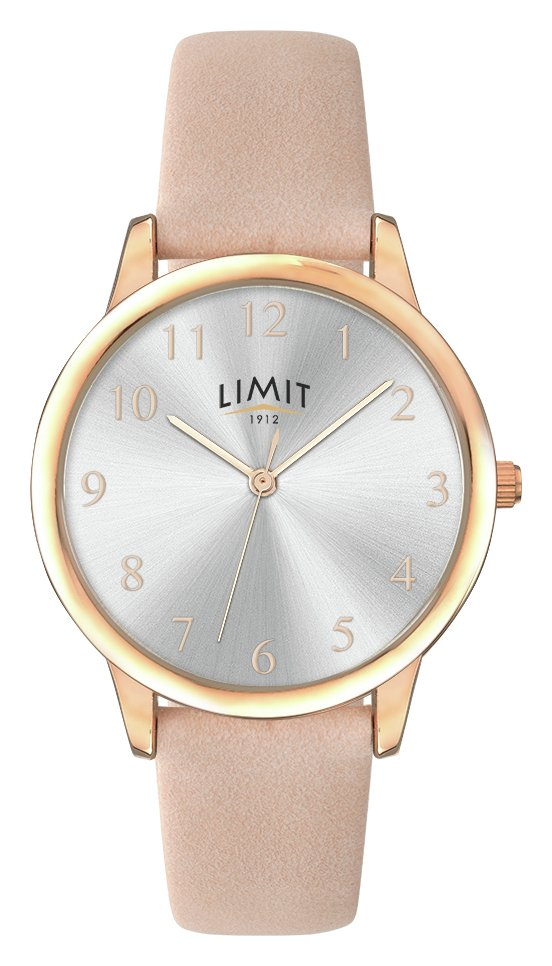 Limit Ladies' Rose Gold Plated Three Hand Pink Strap Watch