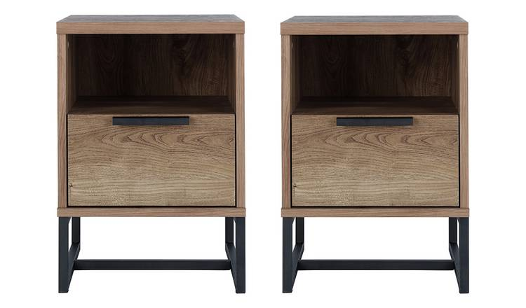 Habitat Nomad 2 Bedside Tables Set - Oak Effect