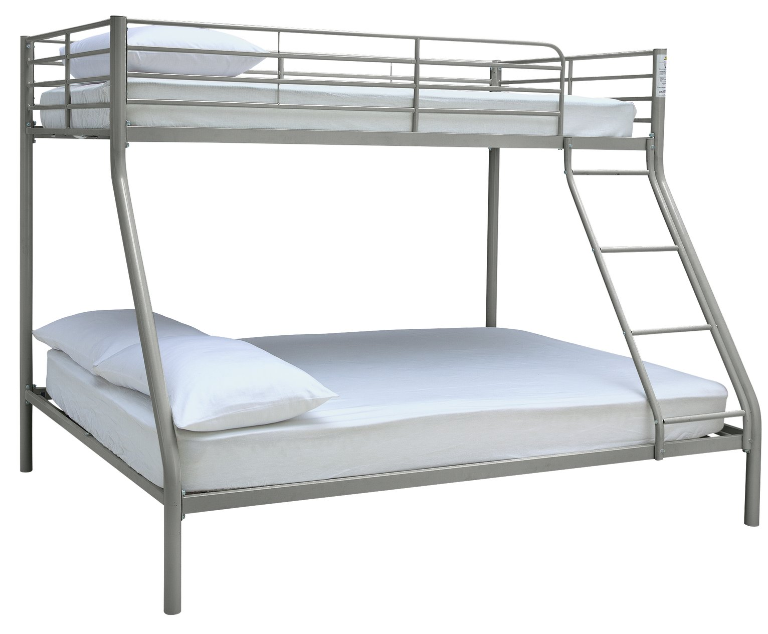 Argos Home Willen Silver Triple Bunk Bed & 2 Kids Mattresses