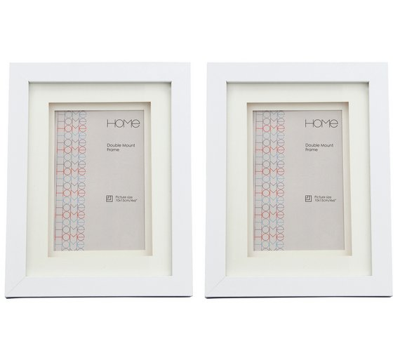 Buy Argos Home Set of 2 4x6 Inch Double Mount Frames - White | Photo ...