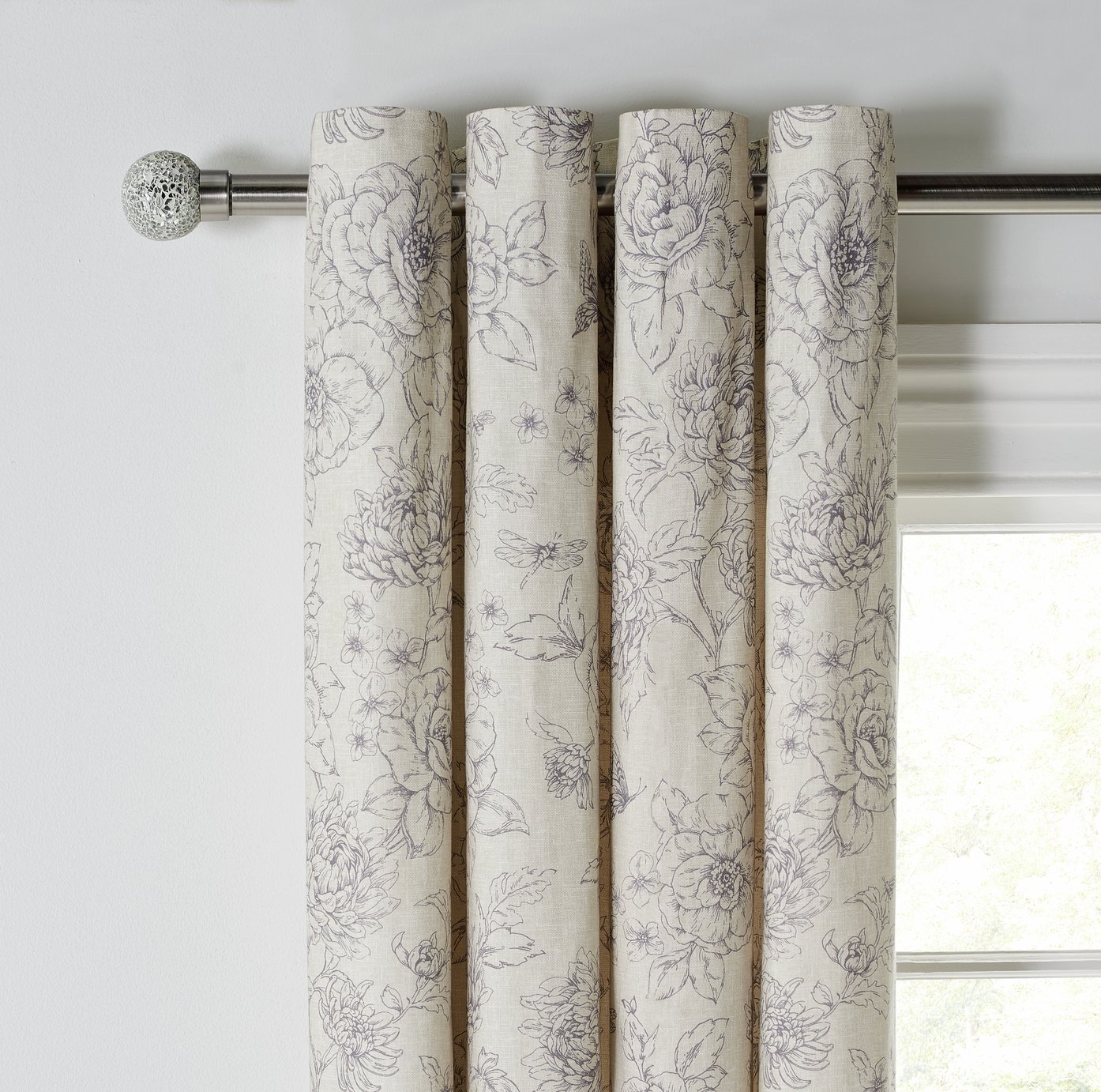 Argos Home Grace Lined Curtains 117x137cm - Grey