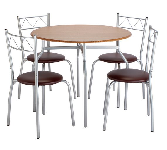 buy argos home oslo round dining table 4 chairs oak effect