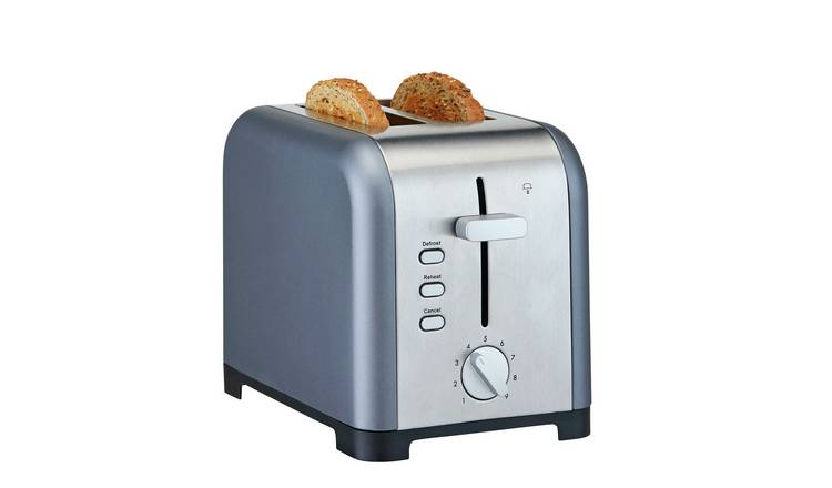Cookworks Metal Bullet 2 Slice Toaster - Grey