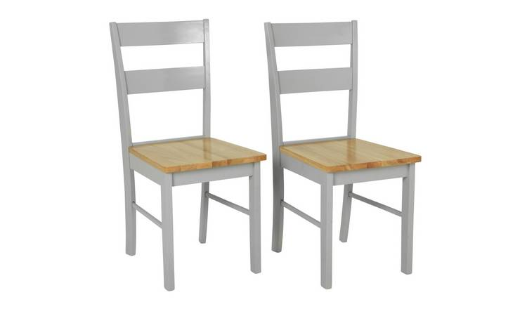 Habitat Chicago Pair of Dining Chairs - Grey & Oak