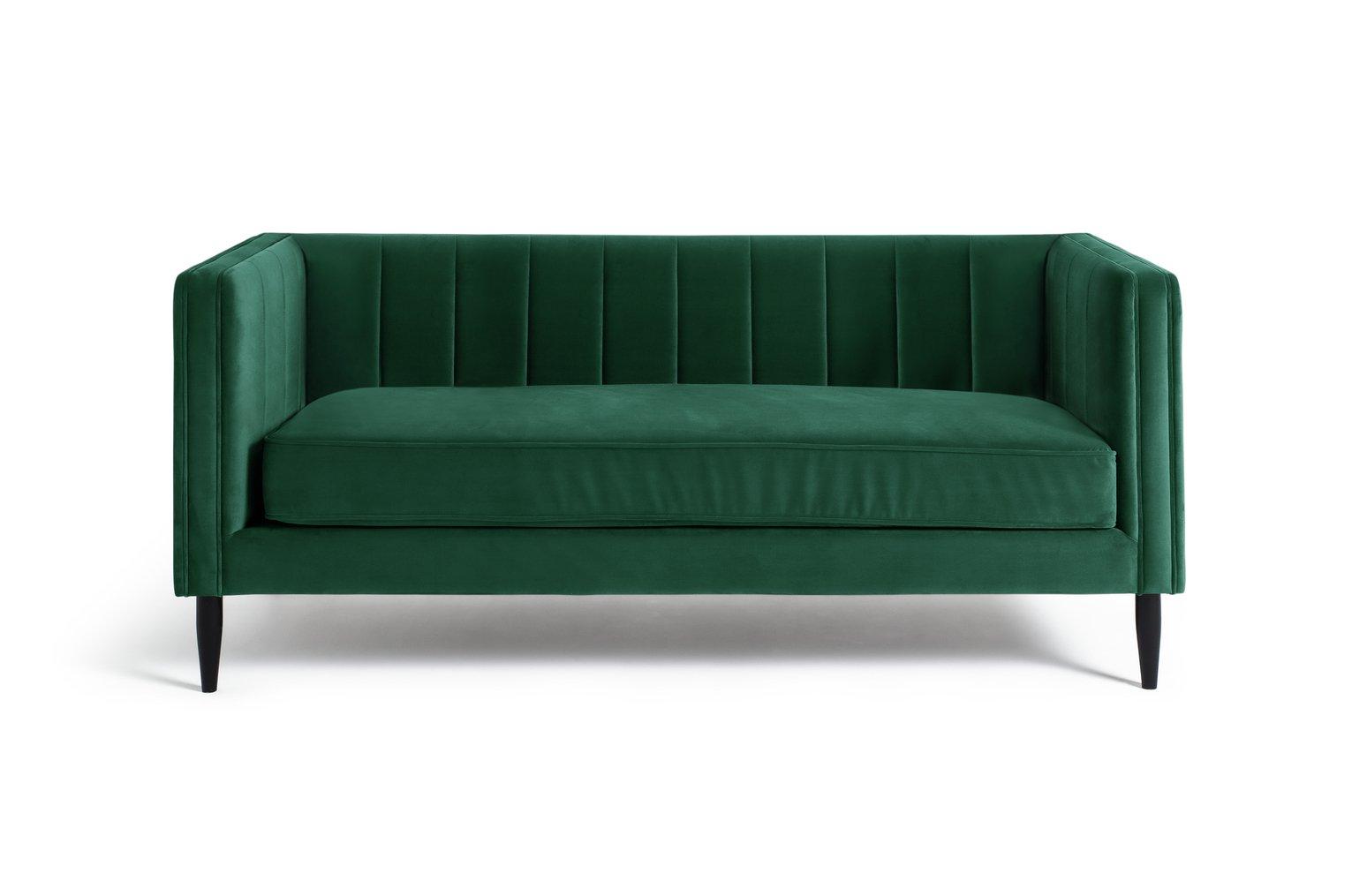 Habitat Vanessa 3 Seater Velvet Sofa - Green