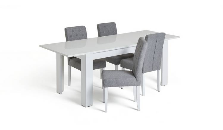Habitat Miami Extending Table & 4 Button Chairs - Grey
