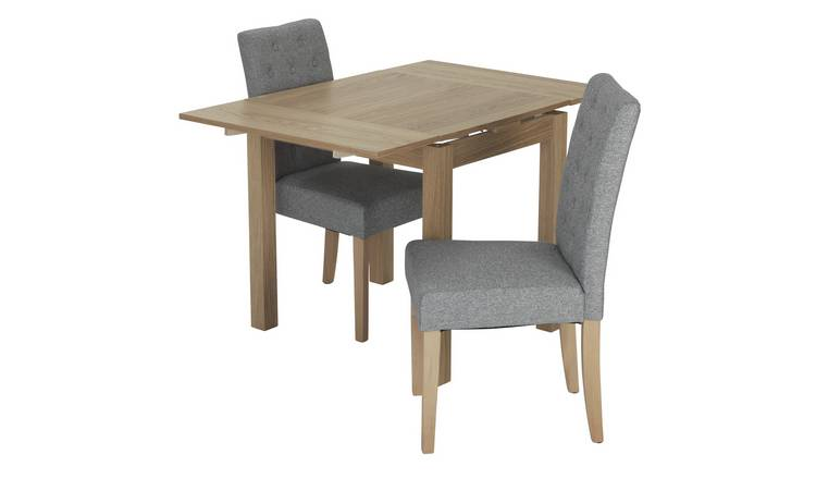 Habitat Clifton Extending Table & 2 Button Chairs - Grey