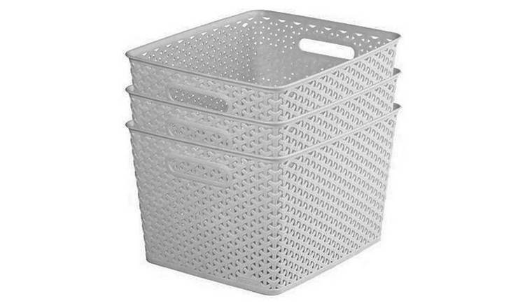 Curver My Style Set of 3 18 Litre Large Storage Boxes - Grey