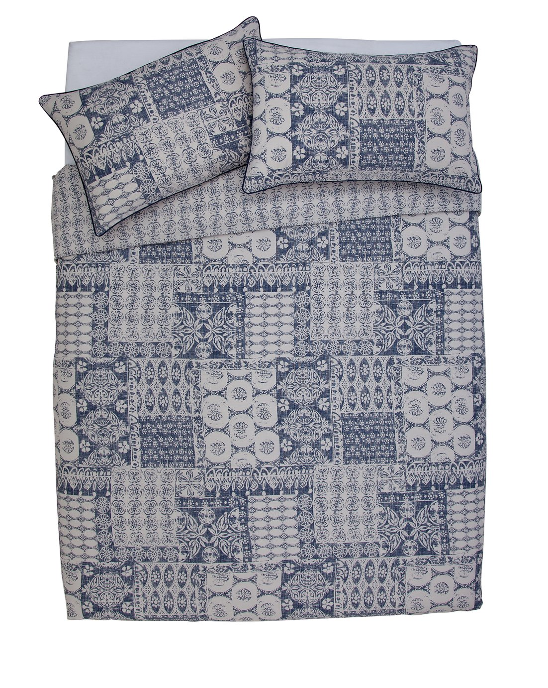 Argos Home Navy Tile Sateen Bedding Set - Double