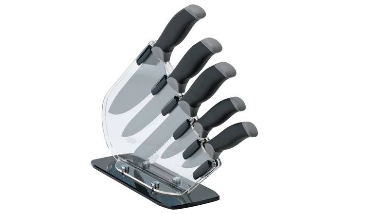 Argos Home 5 Piece Sloping Knife Block Set - Black & Grey