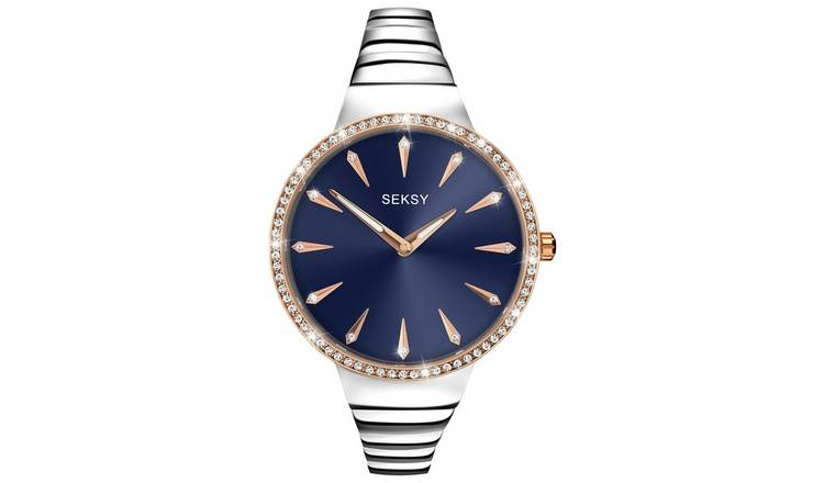 Seksy Ladies Silver and Rose Gold Plated Stone Set Watch