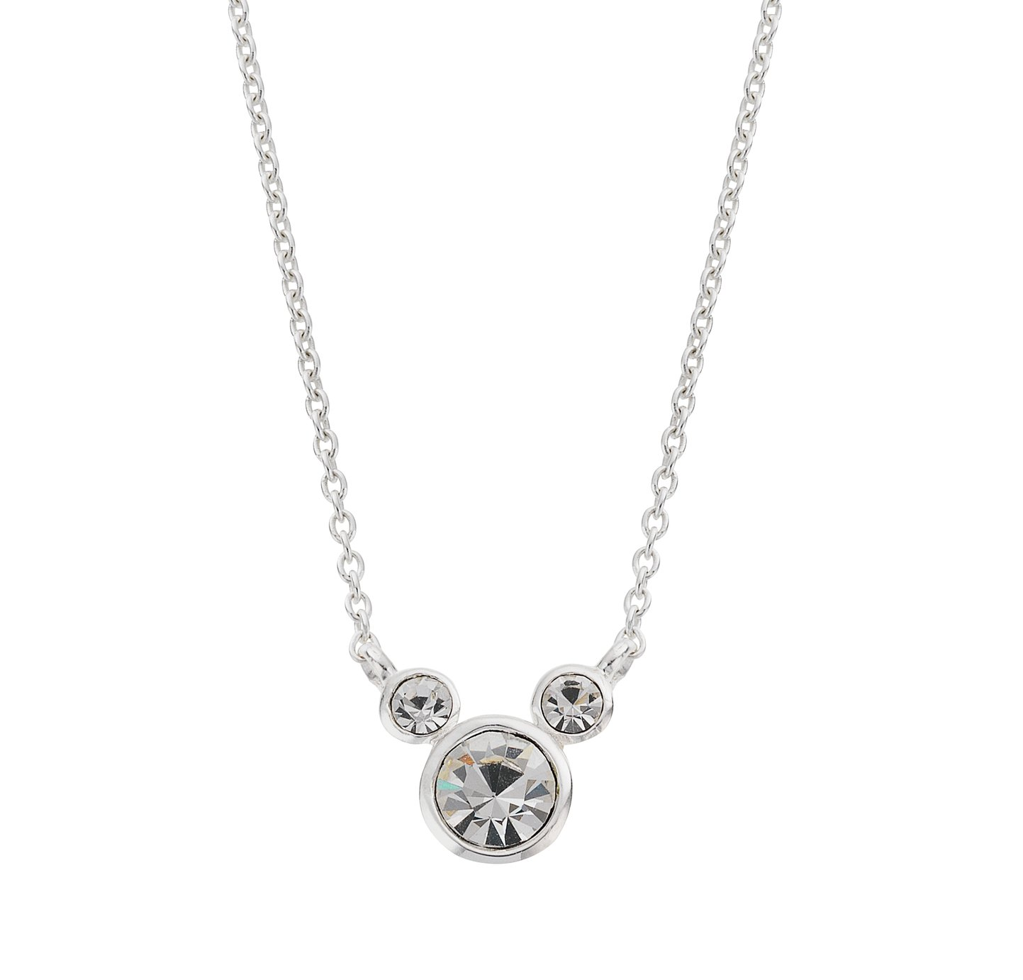 Disney Mickey Mouse Sterling Silver Crystal Pendant