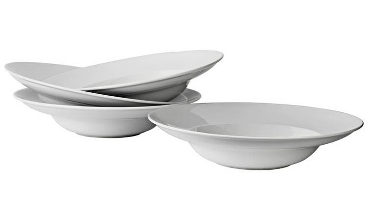 Argos Home Set of 4 Porcelain Large Pasta Bowls -Super White