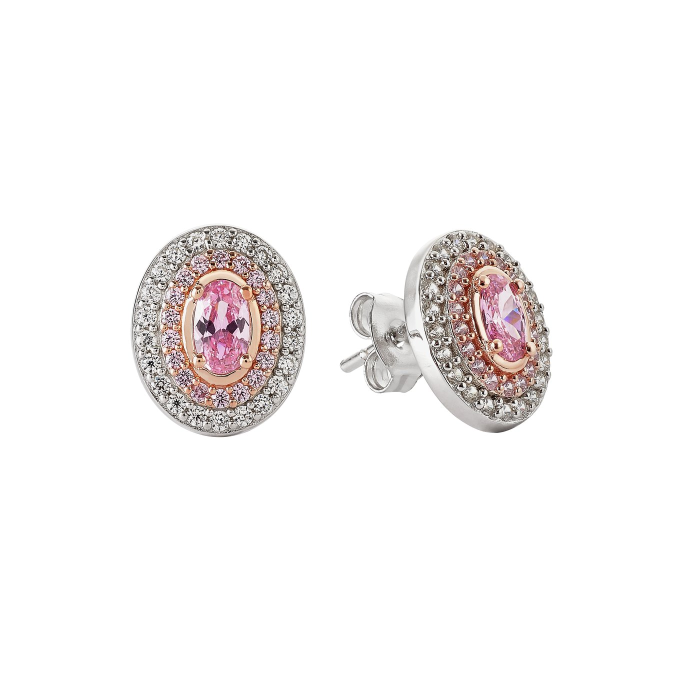Revere Silver and Rose Gold Plated Halo Stud Earrings
