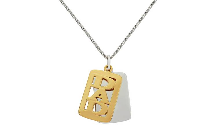 Revere Men's Silver & Gold Plated Silver Dad Dog Tag Pendant