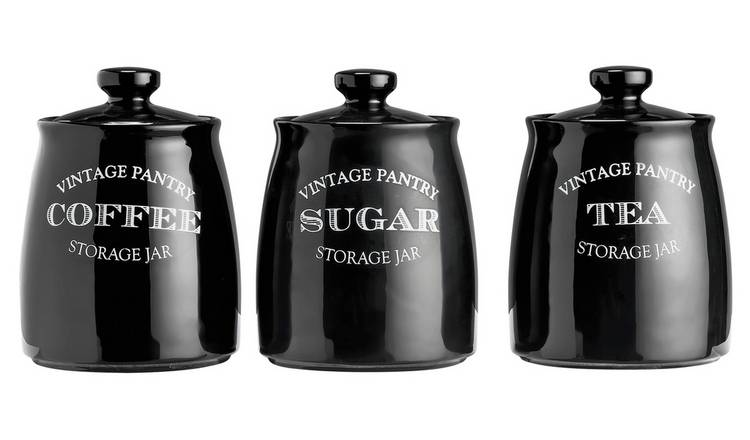 Buy Argos Home Eve Traditional Set Of 3 Storage Jars Black Limited Stock Home And Garden Argos